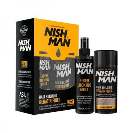 NISH MAN - Set fiber pentru parul rar - Negru