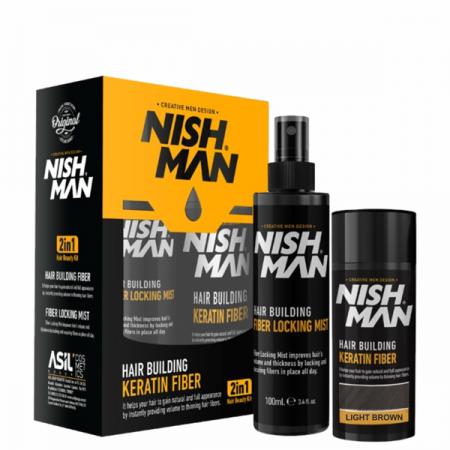 NISH MAN - Set fiber pentru parul rar - Saten deschis