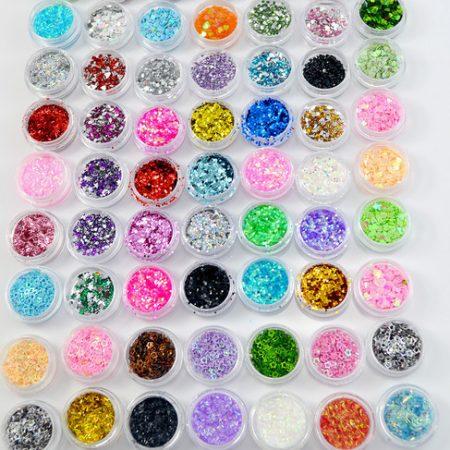 Paiete unghii sclipici Sparkling Nails - Set 63 bucati