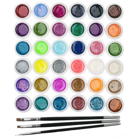 Set 36 geluri UV Color cu Sclipici ENS PRO + CADOU